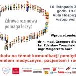 """Hospicjum im. Jana Pawła II plakat debaty """"Zdrowa rozmowa pomaga leczyc"""""""