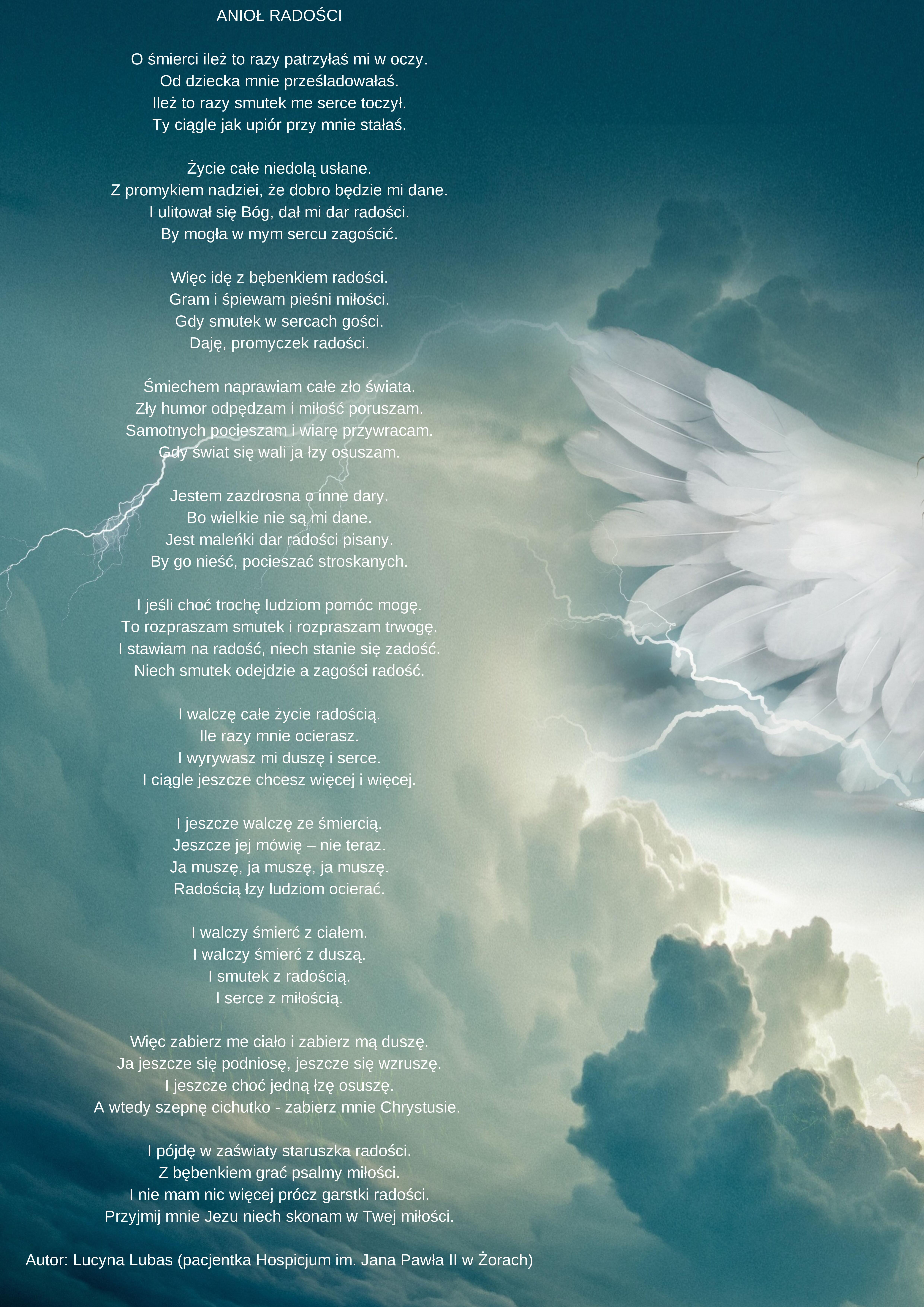 Wiersz Jednej Z Naszych Pacjentek Pt Anioł Radości