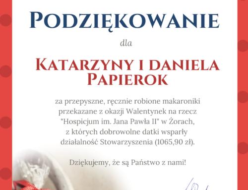 Podziękowanie dla Katarzyny i Daniela Papierok