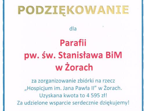 Podziękowanie dla Parafii św. Stanisława w Żorach